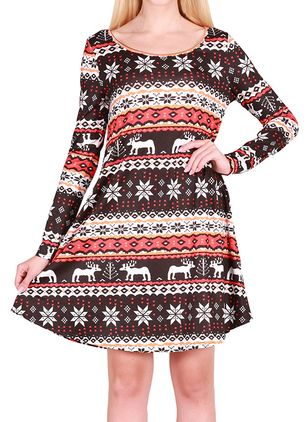 Character Long Sleeve Above Knee Shift Dress