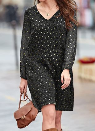Casual Polka Dot Tunic V-Neckline A-line Dress (146973424)