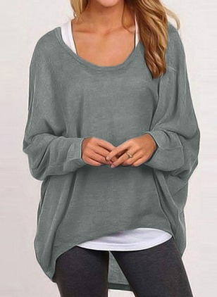 Cotton Round Neckline Solid Loose Underwear Sweaters