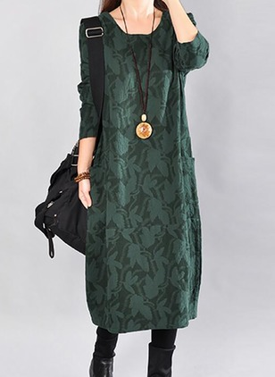 Solid Pockets Square Neckline Maxi Shift Dress