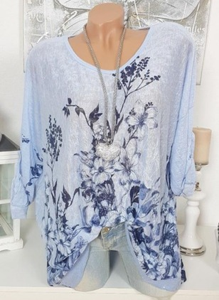 Floral Polyester Round Neckline Long Sleeve Blouses