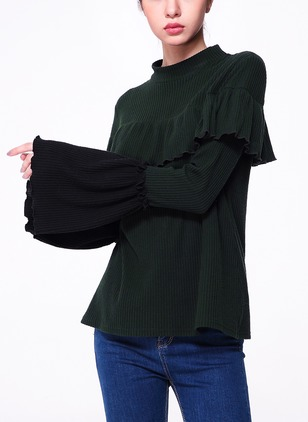 Polyester Solid Others Long Sleeve Elegant T-shirts