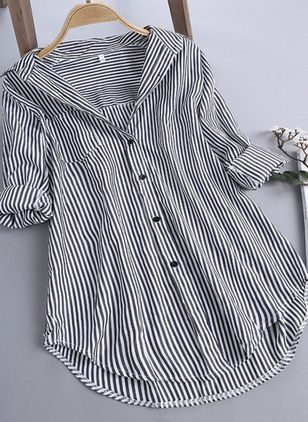 Stripe Casual V-Neckline Long Sleeve Blouses (101923937)