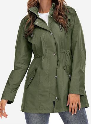 Long Sleeve Hooded Buttons Zipper Pockets Coats (146678787)