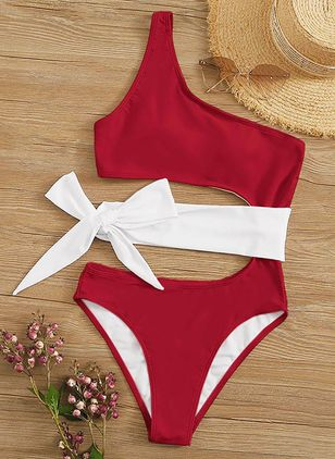 Polyester Oblique Neckline Color Block One-piece Swimwear (1538137)