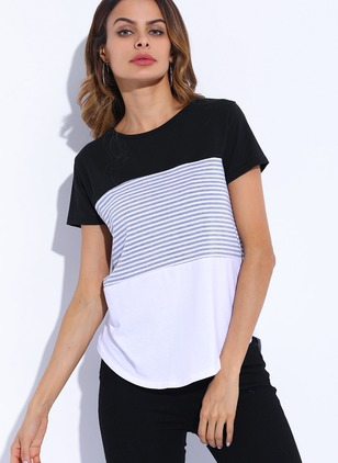 Cotton Stripe Round Neck Short Sleeve Casual T-shirts