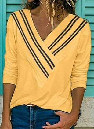 Stripe Casual V-Neckline Long Sleeve Blouses (2200870)