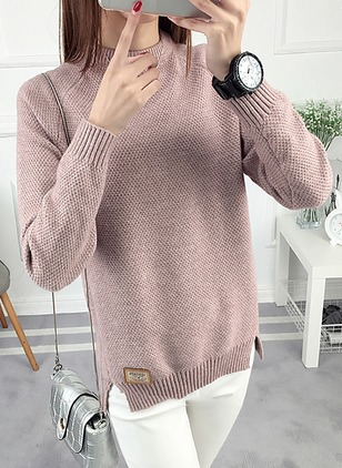 Cotton Round Neckline Solid Loose None Sweaters