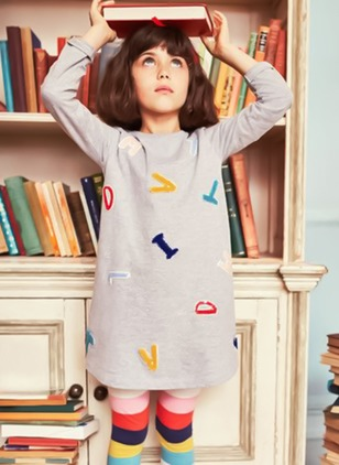 Girls' Casual Alphabet School Long Sleeve Dresses