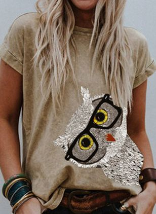 Animal Round Neck Short Sleeve Casual T-shirts (146982849)