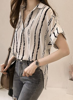 Stripe Casual Cotton Collar Short Sleeve Blouses
