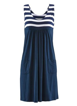 Casual Stripe Tank Round Neckline A-line Dress (2200308)
