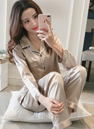 Polyester Collar Plain Pockets Pajamas