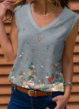Floral V-Neckline Sleeveless Casual T-shirts (146981575)