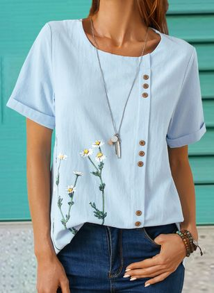 Floral Casual Round Neckline Short Sleeve Blouses (4073943)