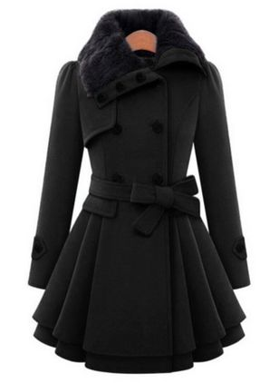 Long Sleeve Collar Sashes Buttons Coats