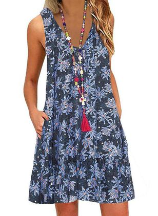 Casual Floral Tunic V-Neckline Shift Dress (4662371)