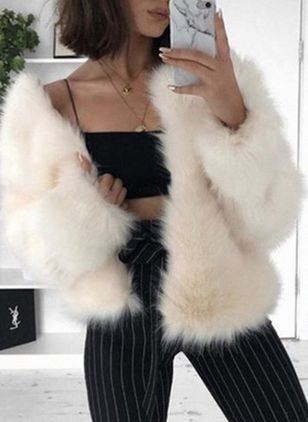 Long Sleeve Collarless Fur Coats (108089114)