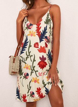 Casual Floral Slip Camisole Neckline Shift Dress (4073255)