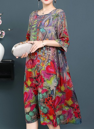 Floral 3/4 Sleeves Midi Shift Dress
