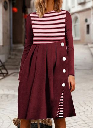 Casual Stripe Round Neckline Long Sleeve Knee-Length Dress (106703485)