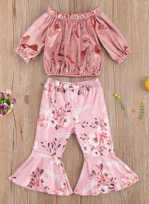 Girls' Christmas Floral Daily 3/4 Sleeves Clothing Sets (118208041)