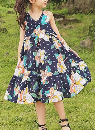 Girls' Floral Going Out Sleeveless Dresses