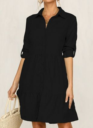 Casual Solid Tunic Collar A-line Dress (104917478)