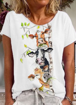 Animal Round Neck Short Sleeve Casual T-shirts (4355843)