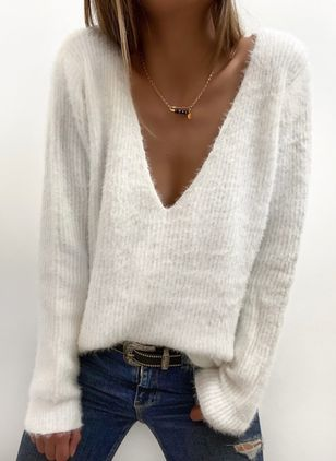 V-Neckline Solid Casual Loose Regular Shift Sweaters (146663601)