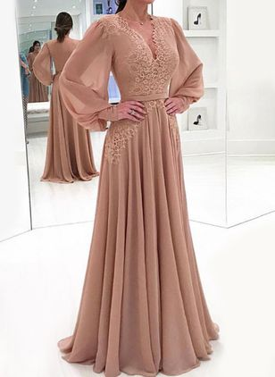 Elegant Solid V-Neckline Maxi X-line Dress (1316231)