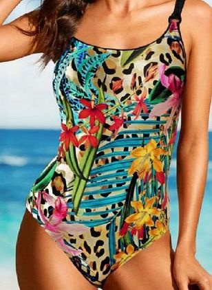 Polyester Floral One-piece Swimwear (147156364)
