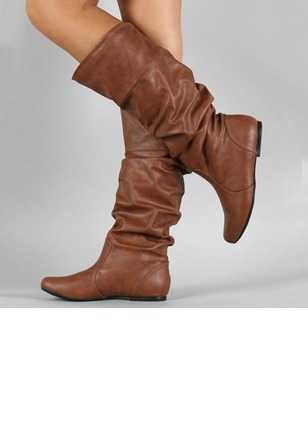 Ruffles Mid-Calf Boots PU Low Heel Shoes