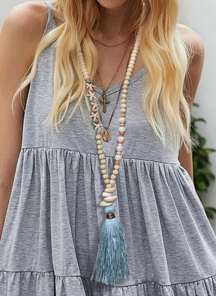 Boho Tassel Ball Crystal Pendant Necklaces (4339194)