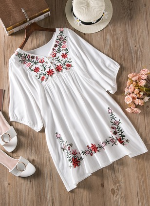 Cotton Floral Half Sleeve Above Knee Casual Dresses  ...