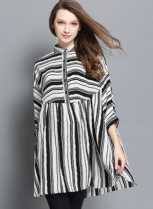 Stripe Cotton High Neckline 3/4 Sleeves Blouses