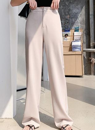 Casual Loose Buttons Zipper Mid Waist Polyester Pants (146723060)