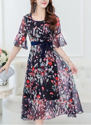 Chiffon Floral Half Sleeve Mid-Calf Casual Dresses  ...