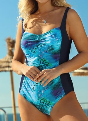 Polyester Color Block One-piece Swimwear (147218969)