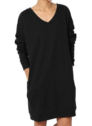 Casual Solid Sweatershirt V-Neckline Shift Dress (146154567)