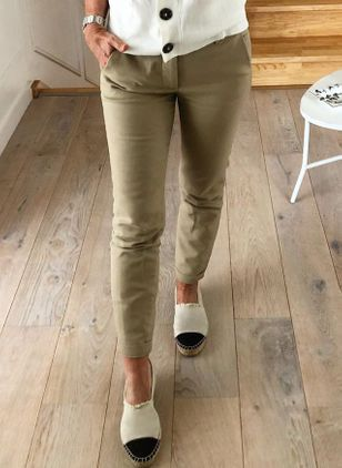 Casual Straight Pockets Mid Waist Polyester Pants (107251459)