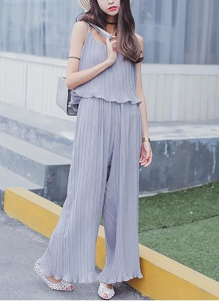 Chiffon Solid Sleeveless Casual Jumpsuits & Rompers