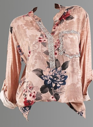 Floral Casual Cotton V-Neckline Long Sleeve Blouses