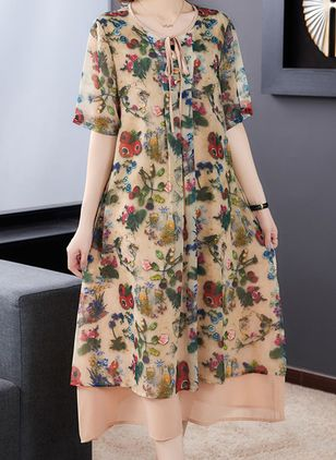 Casual Floral Tunic Round Neckline Shift Dress (100546604)