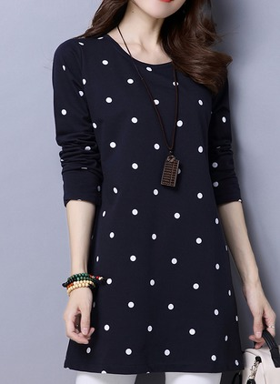 Cotton Polka Dot Round Neck 3/4 Sleeves Casual T-shirts &  ...