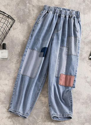 Casual Loose Mid Waist Denim Jeans Pants (104917853)
