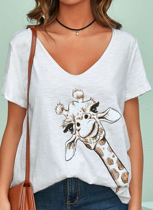 Animal Casual V-Neckline Short Sleeve Blouses (4127998)