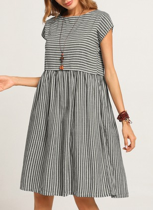 Cotton Stripe Cap Sleeve Knee-Length A-line Dress