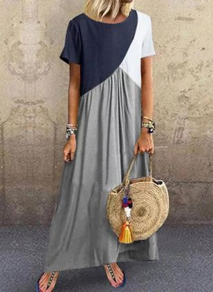 Casual Color Block Tunic Round Neckline Shift Dress