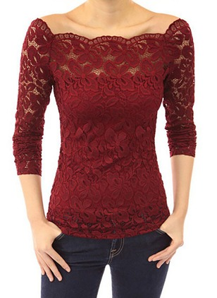 Lace Solid Boat Neckline Long Sleeve T-shirts